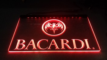 Bacardi tekst led lamp rode led  30 x 20 cm