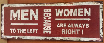 Men to the left beacause woman are always right rood