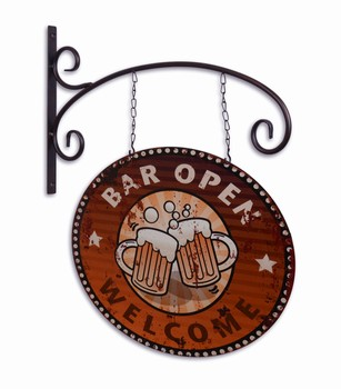Bar open welcome metalen uithangbord dubbelzijdig  48x44cm