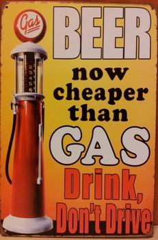 Bier cheaper then gas jc benzinepomp metaal  30 x 20 cm