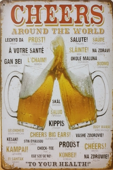 Cheers bier glazen alle talen proost metaal