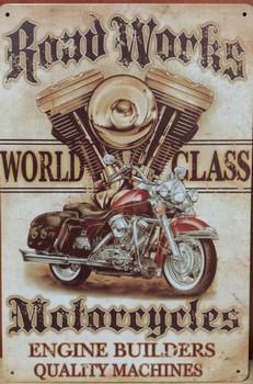 Roadworks motorcycles metalen wandbord