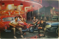 Beroemdheden zittend gitaar op rode auto elvis marilyn