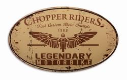 Chopper riders ovaal legendary motorbike metalen wandb