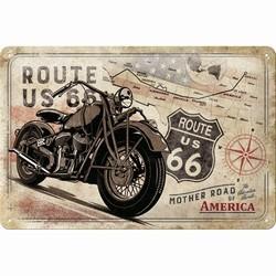 Route 66 Bike map metalen reclamebord relief