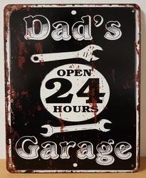 Dads garage open 24 hours metalen wandbord