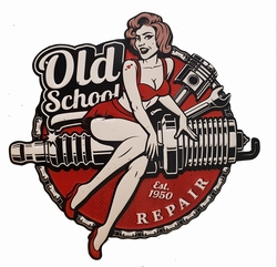 Old school pin up repair bougie metalen uitgesneden