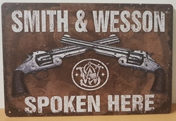 Smith en wesson spoken here metalen reclamebord pistole