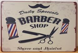 Barber shop kappers metalen wandbord reclamebord barber