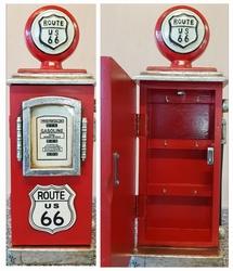 Houten rode route 66 benzinepomp sleutelkast