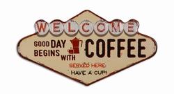Welcome coffee served here metalen wandbord uitgesneden
