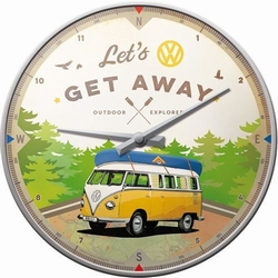 VW Lets Get away Volkswagen vw bullie wandklok