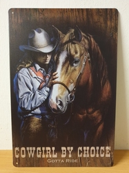 Cowgirl by choice  paarden metalen bord