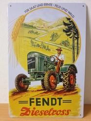 Fendt dieselross tractor metalen reclamebord