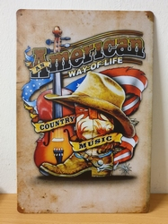 American country cowboy gitaar metal wallsign