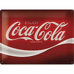 Coca cola logo red lights metalen relief reclamebord