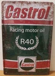 Castrol racing motor oil r40 metalen reclamebord RELIEF