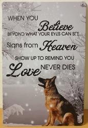 Believe Heaven duitse herder reclamebord metalen wandb