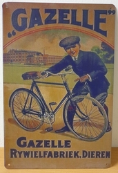 Gazelle rijwielfabriek fietsen reclamebord metaal