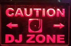 Caution DJ zone rode led lamp verlichting