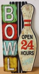 Bowl open 24 hours metalen uitgesneden bord