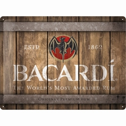 Bacardi wood barrel logo reclamebord relief