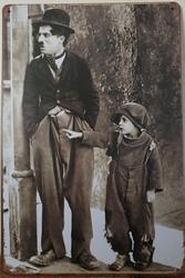 Charlie Chaplin Kid Reclamebord metaal