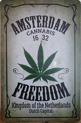Amsterdam Cannabis Freedom metalen wandbord