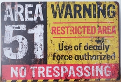 AREA 51 restricted Warning Reclamebord metaal