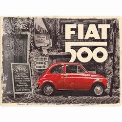 Fiat 500 rode auto metalen reclamebord relief