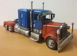 Blauwe rode amerikaanse truck miniatuur metaal