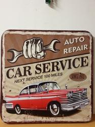 Car service vierkant xxl metalen wandbord