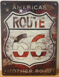 America's route 66 logo mother road metalen wandbord