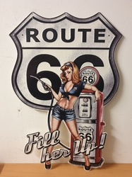 Route 66 pin up pomp fill here up metalen bord