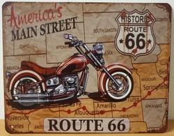America's mainstreet motor route 66 metalen wandbord