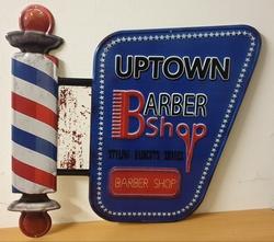 Barbershop uptown groot metalen wandbord kapper