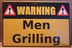 Warning Men Grilling Reclamebord metaal