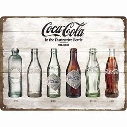 Coca cola timeline flessen reclamebord met Reliëf