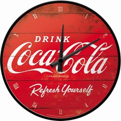 Coca cola rode logo refresh your self wandklok