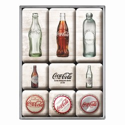 Coca cola flessen magneetset van 9 magneetjes